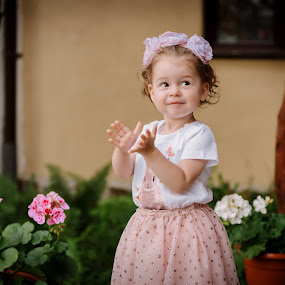 Aplauses by Klaudia Klu - Babies & Children Child Portraits ( girl, happy, funny, pink, flowers )