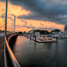 Sunset at Keppel Bay by Gordon Koh - City,  Street & Park  Vistas ( keppel bay, bay, sunset, bridge )