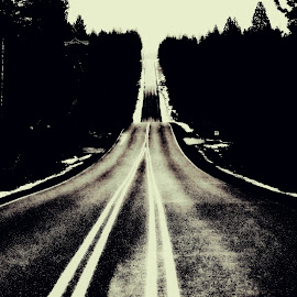 The Road Less Traveled by Devon Andriola - City,  Street & Park  Street Scenes ( idaho, black and white, street, road, photography )