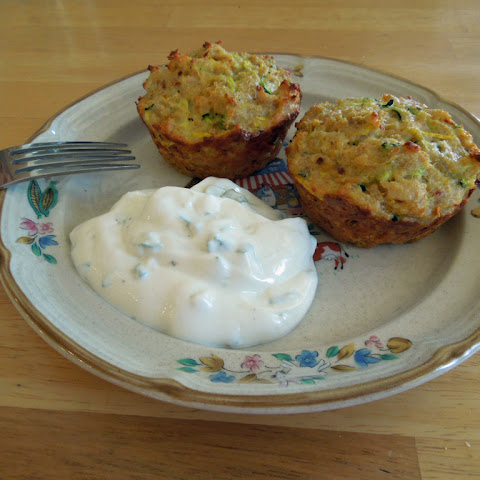 Zucchini Muffins with Green Onion Dressing