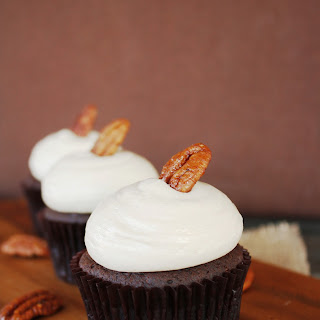 Chocolate Bourbon Pecan Pie Cupcakes With Brown Sugar Buttercream
