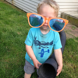 Don't Mess With Me! by Mike DeLong - Babies & Children Children Candids ( hose, glasses, family, grandson, portrait )