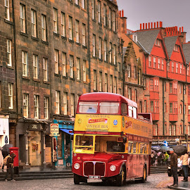 Old bus  by Piotr Owczarzak - Transportation Automobiles ( scotland, red, bus, edinburgh, old town )