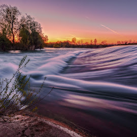 Morning Rush by Bojan Bilas - Landscapes Waterscapes ( idlyic, color, reflection, daybreak, nature, fine art, riverside, long exposure, scenic, croatia, spring, beautiful, light, waterscape, dawn, river, europe, glow, landscape )