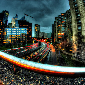 Street's lights by Gabriel Nouar - Buildings & Architecture Office Buildings & Hotels ( paris, defense, fisheye, hdr, la )