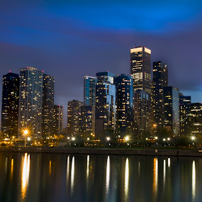 City and water by Cristobal Garciaferro Rubio - Buildings & Architecture Office Buildings & Hotels ( water, blue hour, michigan lake, sunset, chicago )