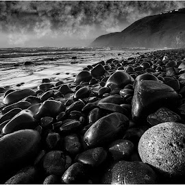 Black and White Seascape by Brendon Muller - Black & White Landscapes ( waterscape, black and white, fine art, seascape, landscape )