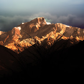 Sunset at kedarnath          by Abhishek Mandal - Landscapes Mountains & Hills ( sunset, himalya, kedarnath, uttarakhand, evening, golden )