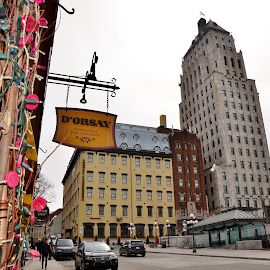 Hôtel Clarendon and Desjardins street by Réal Michaud - City,  Street & Park  Historic Districts ( city hall, urban, spring time, cars, historic district, cityscape, restaurant, old quebec, street photography, city )