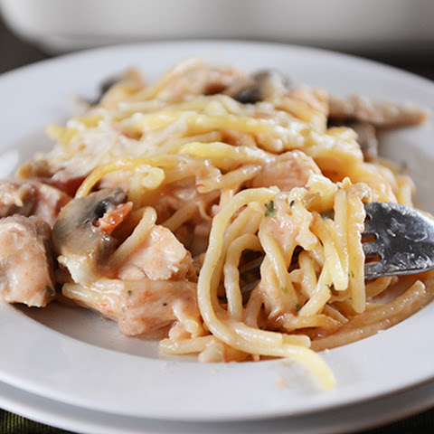 Baked Garlic and Fontina Chicken Spaghetti