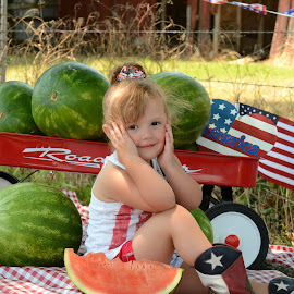 4th of July in Texas! by Marie Burns - Public Holidays July 4th ( flag, girl, america, boits, barn, texas, watermelon )