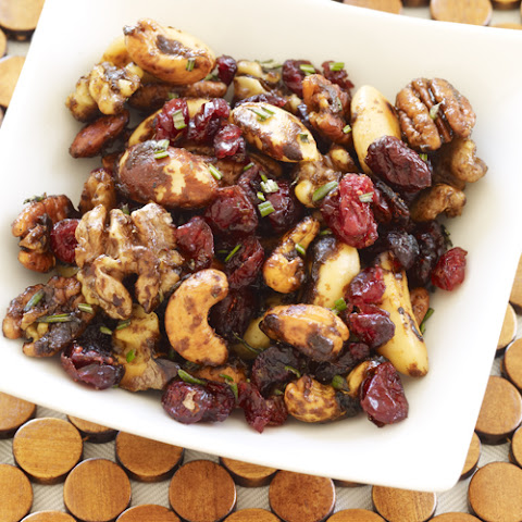 Sweet & Spicy Glazed Nuts with Cranberries and Rosemary