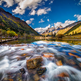 Flow Of Life by Tien Sang Kok - Landscapes Waterscapes ( blue sky, mountain, nature, landscape, river )