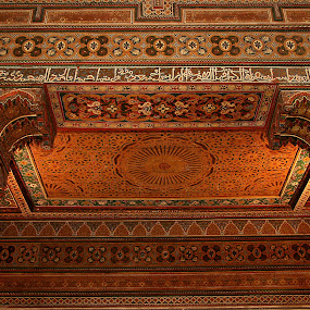 Intricate Moroccan ceiling by Gale Perry - Buildings & Architecture Architectural Detail ( greens, marrakesh, reds, red, archicture, ceiling, white columns, morocco, intricate,  )