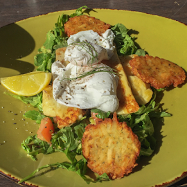 Breakfast in the sun by Vibeke Friis - Food & Drink Plated Food ( eggs, fritters, sunny, plate, haloumi,  )