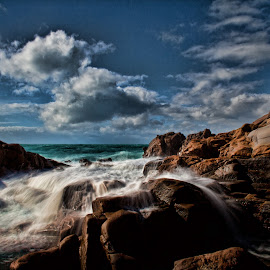 Livorno (Tuscany, Italy) by Gianluca Presto - Landscapes Beaches ( cliffs, tuscany, waterscape, stone, rock, beach, landscape, sun, sky, nature, sunny, mediterranean, cloudy, long exposure, rocks, italy, water, clouds, wind, waves, cliff, sea, seascape, wave, stones, natural, longexposure )