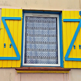 Yellow window in Valais by Dobrin Anca - Buildings & Architecture Architectural Detail ( valais, window, house, beach, yellow )