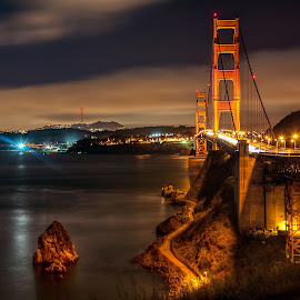 The Golden Gate by Jim Hamel - Buildings & Architecture Bridges & Suspended Structures ( sausalito, california, night, bridge, golden gate )