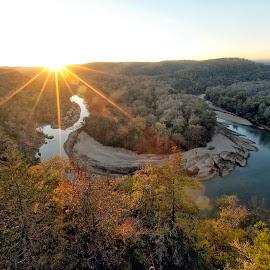 Red Bluff at Sunrise - The Buffalo National River by William Rainey  - Landscapes Sunsets & Sunrises ( starburst, river bend, fall, bufffalo national river, sunrise, bluff, arkansas, river )