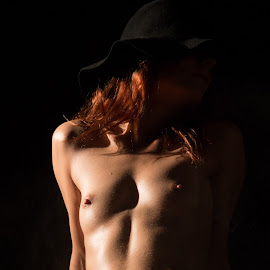 Black beauty by Mario Horvat - Nudes & Boudoir Artistic Nude ( studio, model, nude, art, skin, hat, black background, girl, female, akt, breasts, brown skin, secret, brown,  )