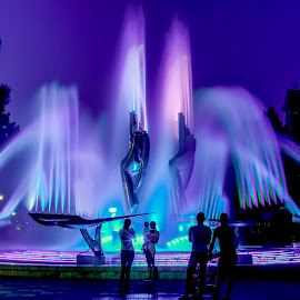 Kinetic fountains by Mihai Scotnotis - City,  Street & Park  Night ( city at night, street at night, park at night, nightlife, night life, nighttime in the city )