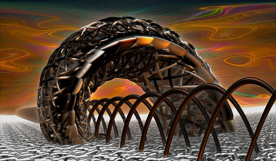 Warped By The Climate by Rick Eskridge - Illustration Sci Fi & Fantasy ( fantasy, jwildfire, mb3d, fractal, twisted brush )