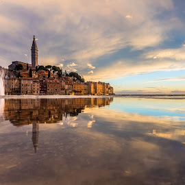 Calm in the Storm by Aleks Budimir - City,  Street & Park  Vistas ( sky, storm, reflection, dusk, panoramic, old town, epic, water, sea, wave, croatia, cloud, beautiful, amazing, golden hour, seashore, calming, beach, sunset, rovinj, dawn, travel, serene, landscape )