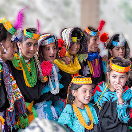 Kalashi Girls by Abdul Rehman - People Street & Candids ( kalash valley, kalasha, colorful, colors, kalash, dance )