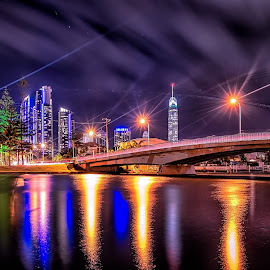 Streaky by Alex Stecina - City,  Street & Park  Night ( lights, water, clouds, reflections, night, bridge, paradise, trails, canal, colours )