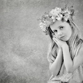Angelic by Love Time - Babies & Children Child Portraits ( child, empty space, girl, black and white, texture, pretty, portrait )