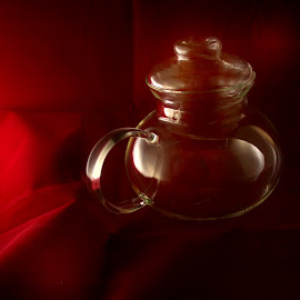 Red Teapoy by ANN CASON - Artistic Objects Cups, Plates & Utensils ( abstract, teapot, red, cups, object )