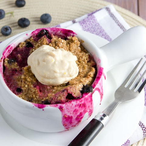 5 minute Blueberry Quinoa Flake Bake with Lemon Cream