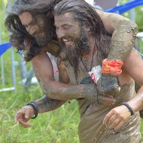 MUD WINNERS by Alexandru Bogdan Grigore - People Portraits of Men ( field, bear, winning, mud, happy, long hair, smile, twins, man, competition )