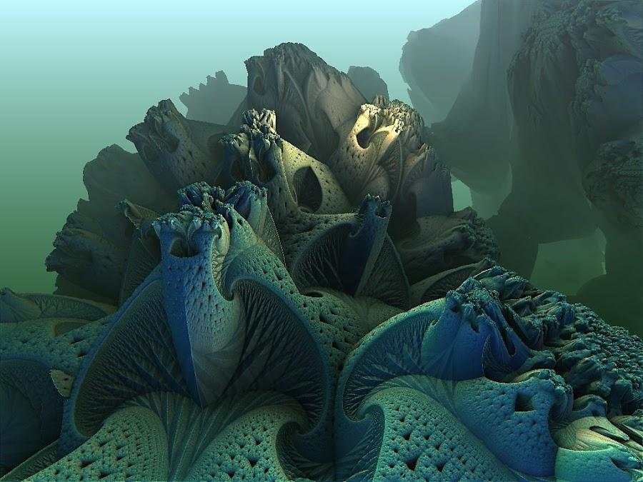 Misty Sierpinski World by Pam Blackstone - Illustration Sci Fi & Fantasy ( mandelbulb, fog, blue, 3d, 3-d, teal, fractal, 3d fractal, mist )