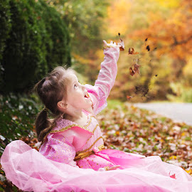Falling Leaves by Katie Shutter Bunny Meadows - Babies & Children Child Portraits ( child, fall leaves, girl, autumn, colors, sunset, fall, cute, leaves, pretty, kid, halloween,  )