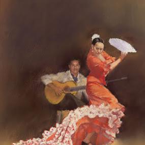 Flamenco Show by Margaret Merry - Painting All Painting ( dancing, pastel, spanish, bailaora, art, drawing, spain, flamenco, andalucia, margaret merry, prints, dance, painting, almeria, dancer )