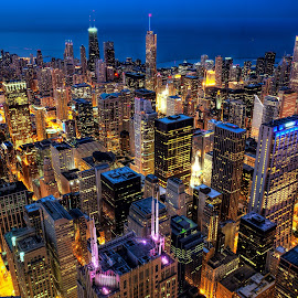 Chicago by Jim Hamel - City,  Street & Park  Skylines ( willis tower, illinois, night, chicago, city )
