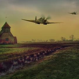 Spitfires At Fairfield by Dave Godden - Digital Art Places ( flight, ro, spitfire, romney marsh, aeroplane, aircraft, romney, marsh, air, fairfield, raf, supermarine spitfire, war, supermarine )