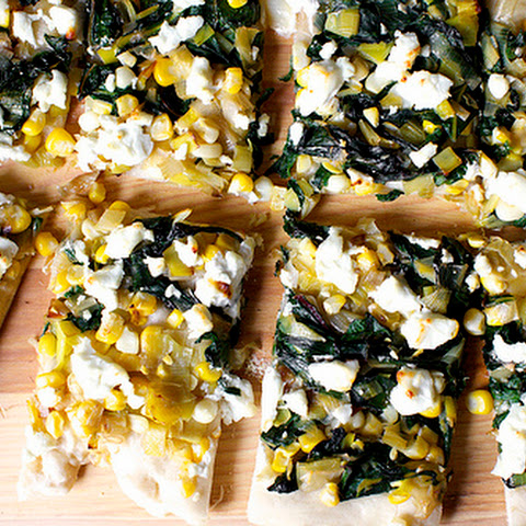 Leek, Corn and Chard Flatbread with Goat Cheese