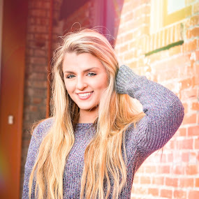Senior Portrait - Anna by Kevin Pastores - People Portraits of Women ( pose, senior portrait, blonde, girl, style, teen, long hair, street, smile, senior, portrait, alley )