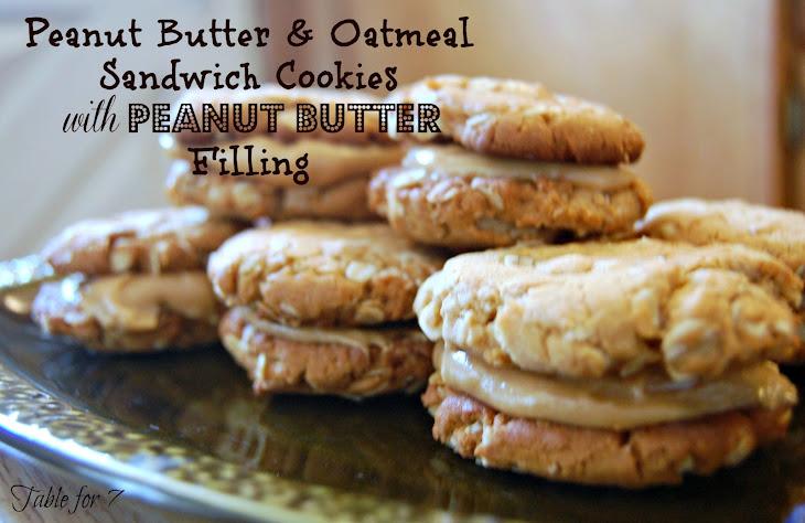 Peanut Butter & Oatmeal Sandwich Cookies with Peanut Butter Filling