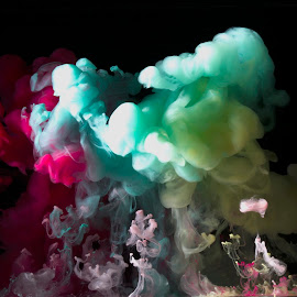 Color clouds by Fok Vleeshakker - Nature Up Close Water ( water, clouds, inkt, color, cafe cream )
