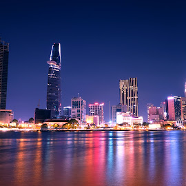 Saigon at night by Bảo Long - City,  Street & Park  Skylines ( exposure, skyline, bitexco, vietnam, night, saigon, long, light, river, city )