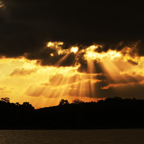 Rays of Hope by Samrat Sam - Landscapes Cloud Formations ( effect, sunset, sea, cloud, rays,  )