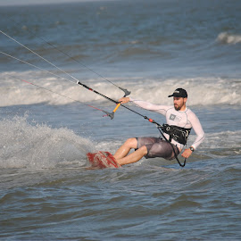 Kite Boarder by Prentiss Findlay - Sports & Fitness Watersports ( folly beach, ocean, beach, south carolina, kiteboarding )