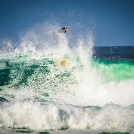 Wipe out! by Catherine Thuaux - Sports & Fitness Surfing ( swell, surfing, surf board, australia, beach, surf, avoca beach )