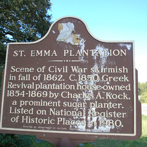 Scene of Civil War skirmish in fall of 1862. C.1850 Greek Revival plantation house owned 1854-1869 by Charles A. Kock, a prominent sugar planter. Listed on National Register of Historic Places in ...