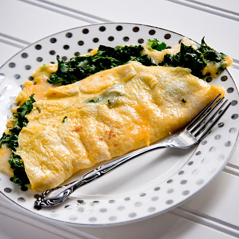 Garlicky Kale and Spinach Omelets