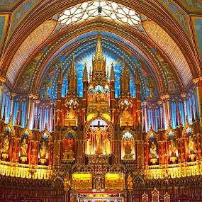 Notre Dame Basilica by Naveen Naidu - Buildings & Architecture Places of Worship ( montreal, canada, church, colorful, night )
