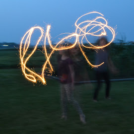 sparklers by Kristin Cosgrove - Novices Only Street & Candid ( abstract, shutterspeed, kids, night shot, sparklers )